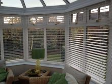 White Wood Venetians for conservatory
